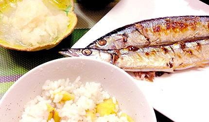 日本美食海鮮烤魚秋刀魚示意圖