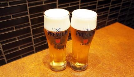 在日本和牛居酒屋銀座「響や」點三得利SUNTORY的The Premium Malt's生啤酒!