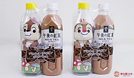 午後的紅茶瓶裝奇奇蒂蒂玩偶鋼牙與大鼻公仔組合。午後の紅茶2018日本便利商店必買NewDays KIOSK限定販售價錢1000日圓
