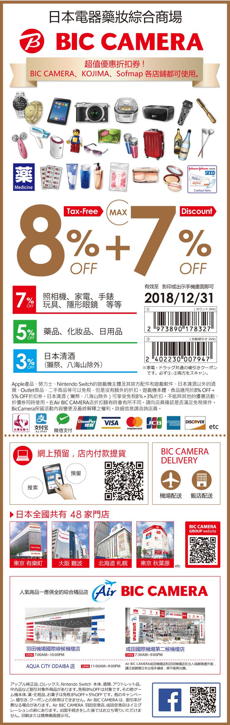 BIC CAMERA優惠券2018年免稅8%加最多7%折扣樂吃購!日本讀者專屬