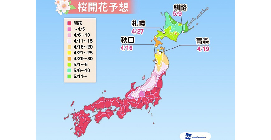 2018櫻花最前線,開花日滿開日查詢,日本賞櫻weathernews