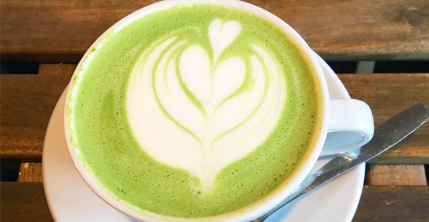 日本咖啡廳抹茶拿鐵示意圖