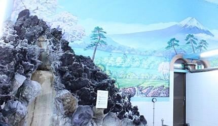 上野燕湯「岩風呂」使用了富士山的熔岩