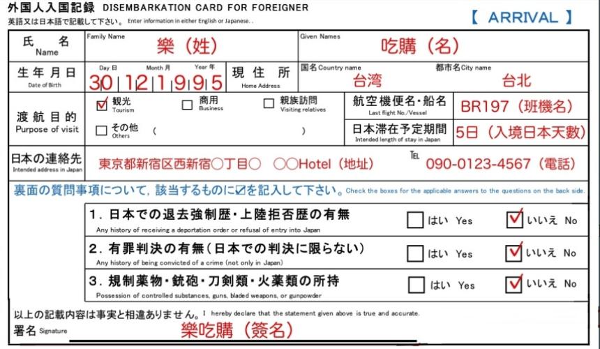 樂吃購!日本 入境記錄卡填寫說明