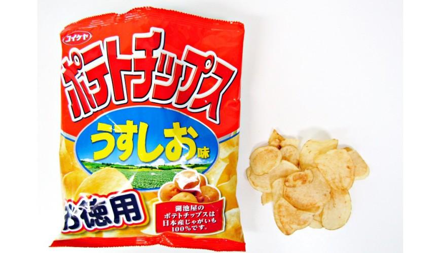 湖池屋定番洋芋片薄鹽口味(ポテトチップスうすしお味)的包裝與洋芋片