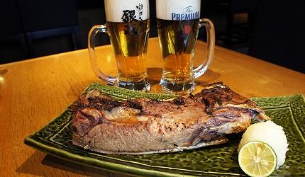 東京銀座和食居酒屋推薦銀政爐端燒的料理「烤鮪魚下巴」