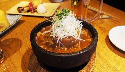 東京銀座和食居酒屋推薦銀政爐端燒的料理「蘿蔔燉牛筋」