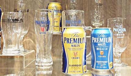 日本啤酒品牌SUNTORY三得利(サントリー)的啤酒「The Premium Malt's」(ザ・プレミアム・モルツ)與啤酒杯