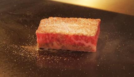 日本東京和牛鐵板燒料理銀座「響や」的A3黑毛和牛燒烤