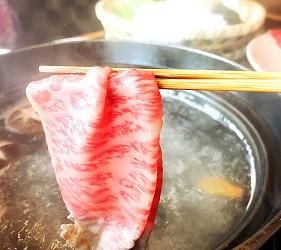 日本的和牛涮涮鍋照片