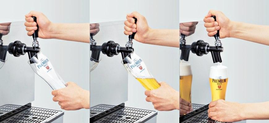 日本啤酒品牌SUNTORY三得利(サントリー)注入生啤酒「The Premium Malt's」(ザ・プレミアム・モルツ)的三個步驟