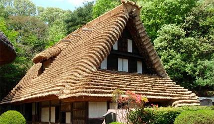 日本民家園有來自白川鄉和富山的茅草屋