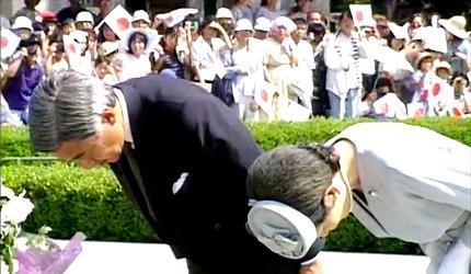 日本明仁上皇與美智子皇后至廣島和平紀念公園慰靈碑獻花