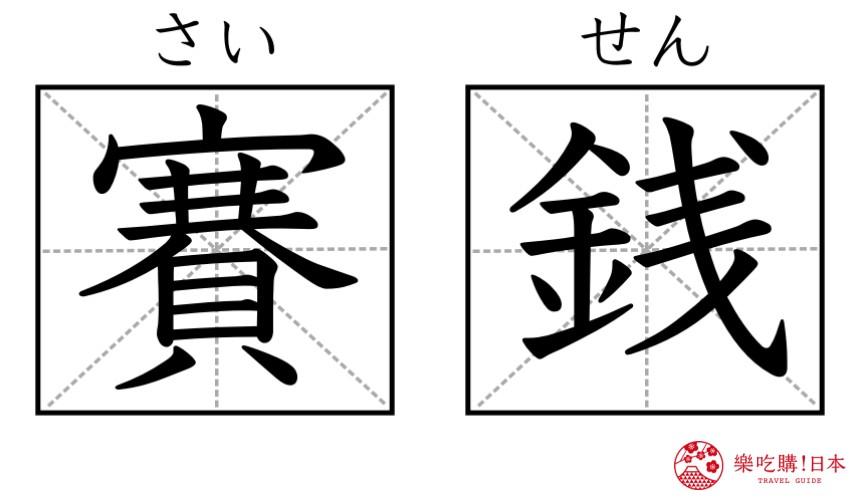 日本神社寺廟常見單字「賽銭」漢字示意圖