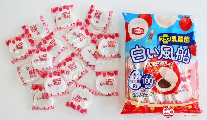 日本必买零食伴手礼龟田白色风船巧克力口味白い风船チョコクリーム外包装