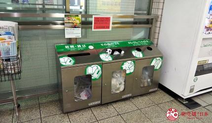 日本都營地下鐵車站內的垃圾桶
