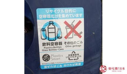 日本路邊的自動販賣機汽水機旁設有鋁罐膠樽專用的垃圾桶上貼有標籤