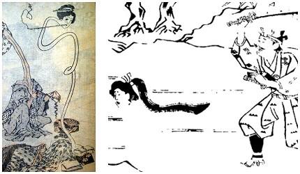 日本妖怪「辘轳首」的形象图