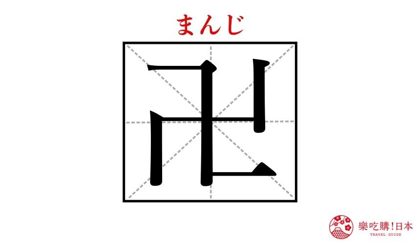 日本常見漢字「卍」的示意圖