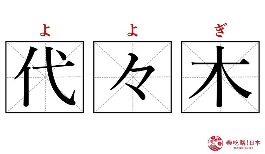 日文單字「代々木」的示意圖