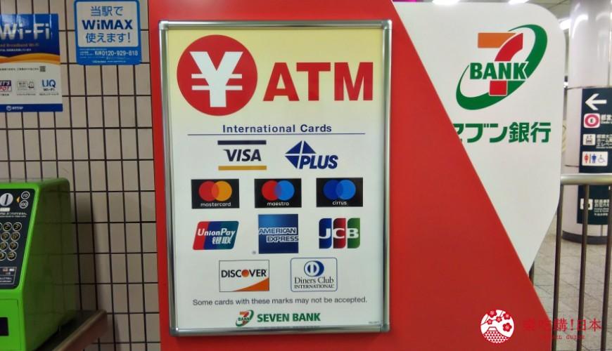 在日本7-11ATM可以提款的金融服務機構