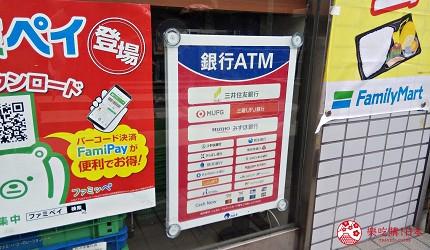 日本的常間ATM網絡e-net可支援的提款卡類示意圖