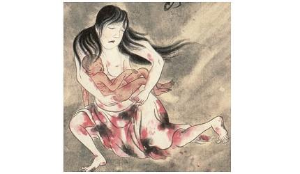 日本妖怪「姑獲鳥」的形象圖