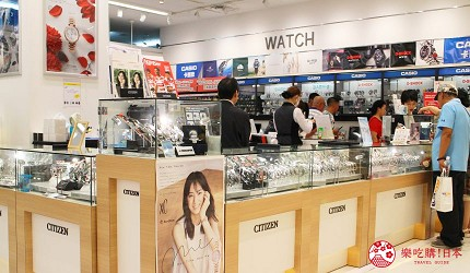 在LAOX買電器時可以辦理「海外電器保養」的鐘錶展區