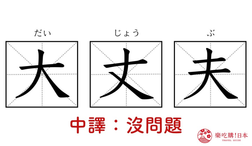 日文單字「大丈夫」的漢字圖