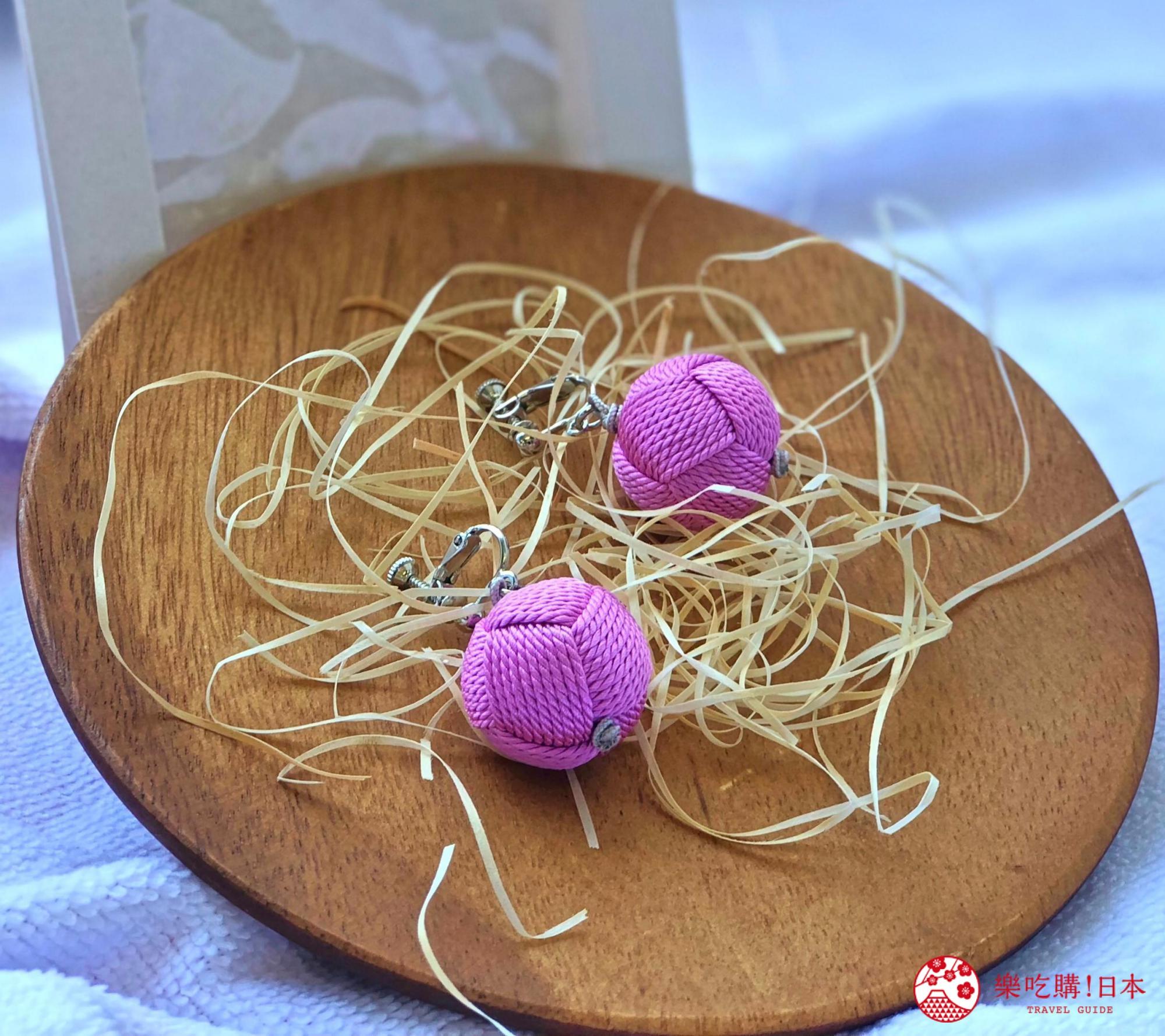 日本樂桃人氣原創設計商品的組紐編繩夾式耳環大球款近照