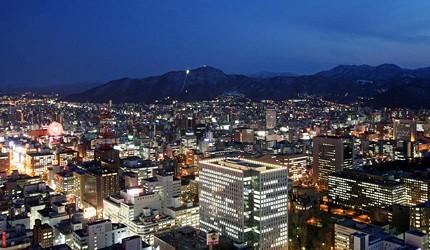 從JR塔外望的北海道城市夜景與遠山夜景