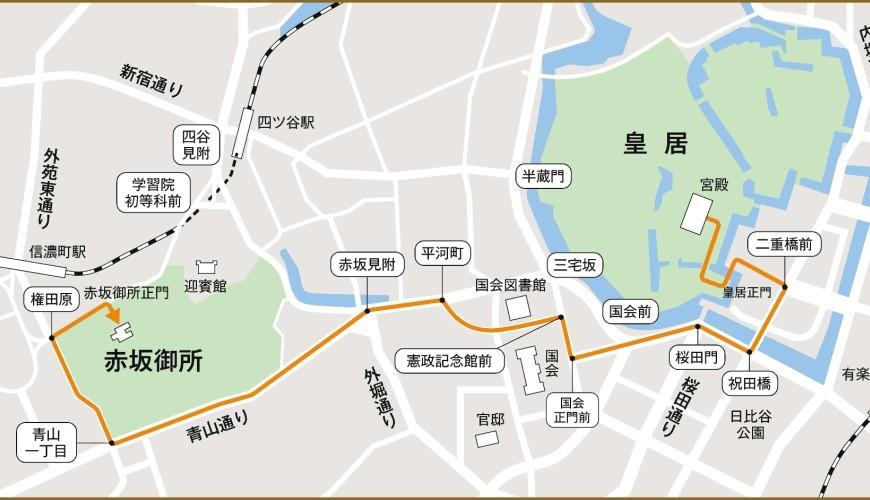 日本天皇登基後「祝賀御列之儀」路線
