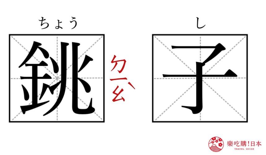 日本地名讀音文章介紹之銚子漢字讀音圖