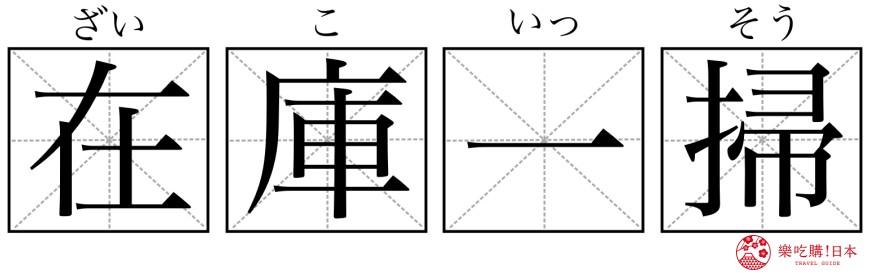 日本購物必學漢字單字「在庫一掃」形象圖