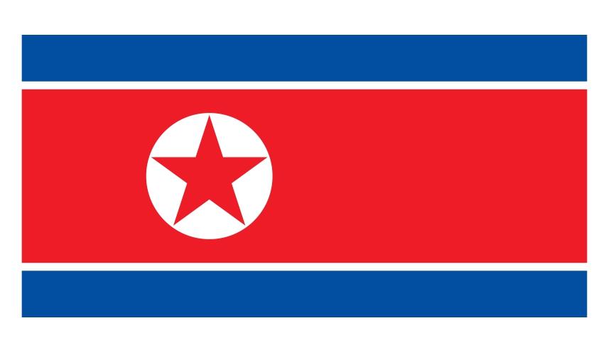 《为什么日文的「美国」叫「米国」?超难懂日语汉字国名你知道几个》的北韩国旗示意图