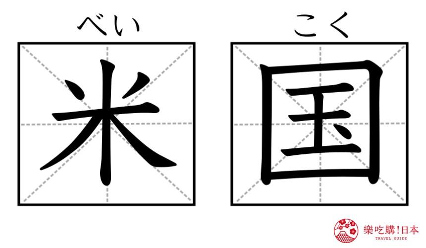 《为什么日文的「美国」叫「米国」?超难懂日语汉字国名你知道几个》的「米国」汉字示意图