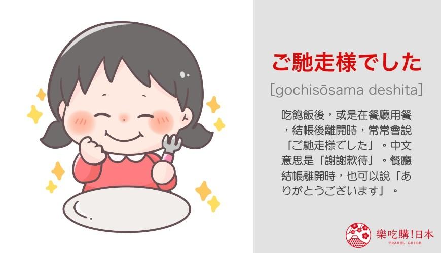 日語問候語「ご馳走様でした」單字發音與意思說明圖示