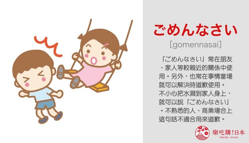 日語問候語「ごめんなさい」單字發音與意思說明圖示