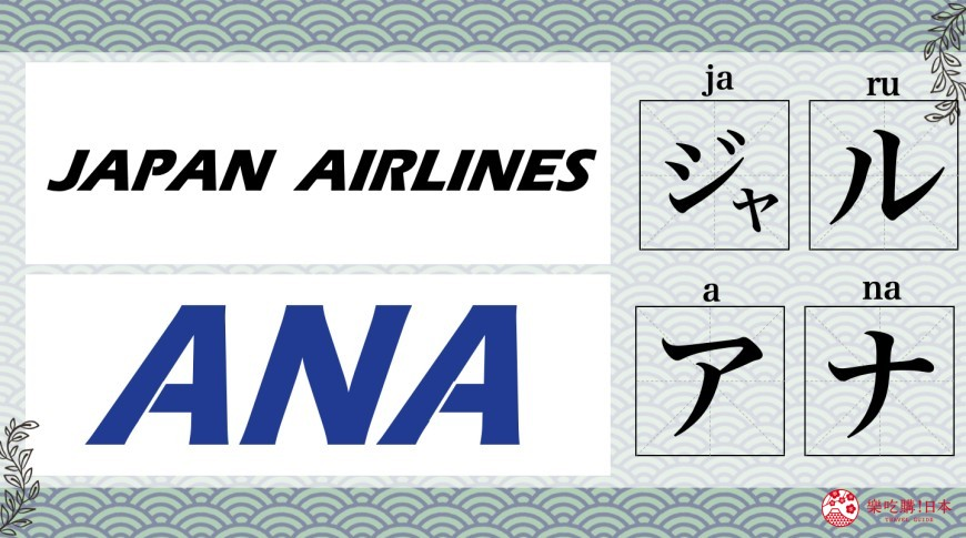 「日本航空」(JAL)、「全日空」(ANA)品牌唸法圖片