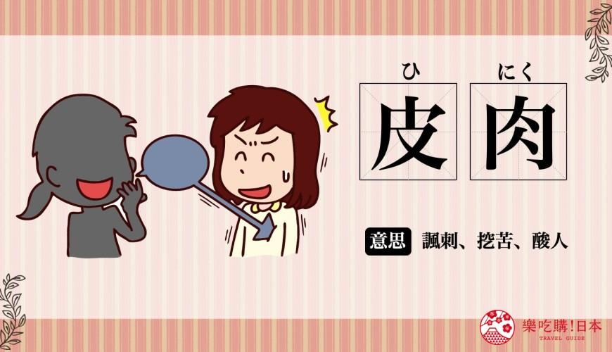 日文「皮肉」(挖苦)的意思圖解
