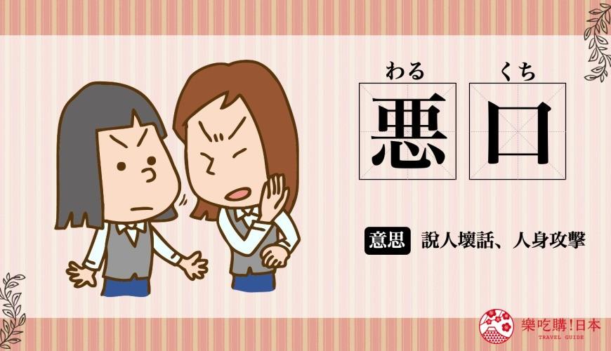 日文「悪口」(說人壞話)的意思圖解