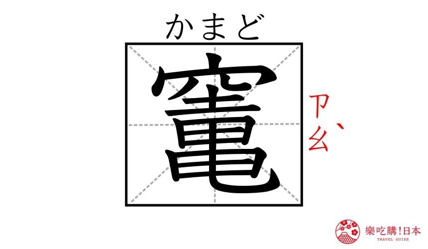 《鬼灭之刃》角色「灶门炭治郎」的「灶」的名字汉字示意图