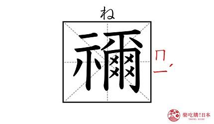 《鬼灭之刃》角色「祢豆子」的名字「祢」汉字示意图