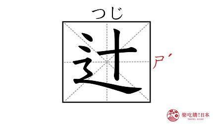 《鬼灭之刃》角色「鬼舞辻无惨」的名字「辻」汉字示意图