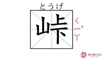 《鬼灭之刃》作者「吾峠呼世晴」的名字「峠」汉字示意图