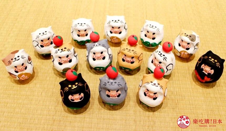 台北東區選物店MiCHi Cafe限量販售的許願達摩不倒翁,萌萌貓耳造型款式大集合