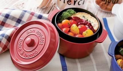 日本製便當盒必買推薦COCOPOT 鑄鐵鍋造型可微波雙層便當盒