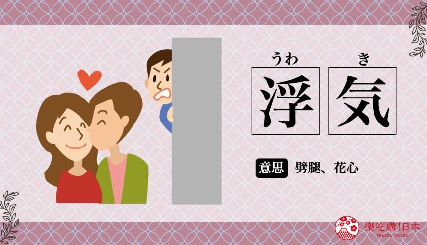 日文的「浮気」唸法與中文意思是花心