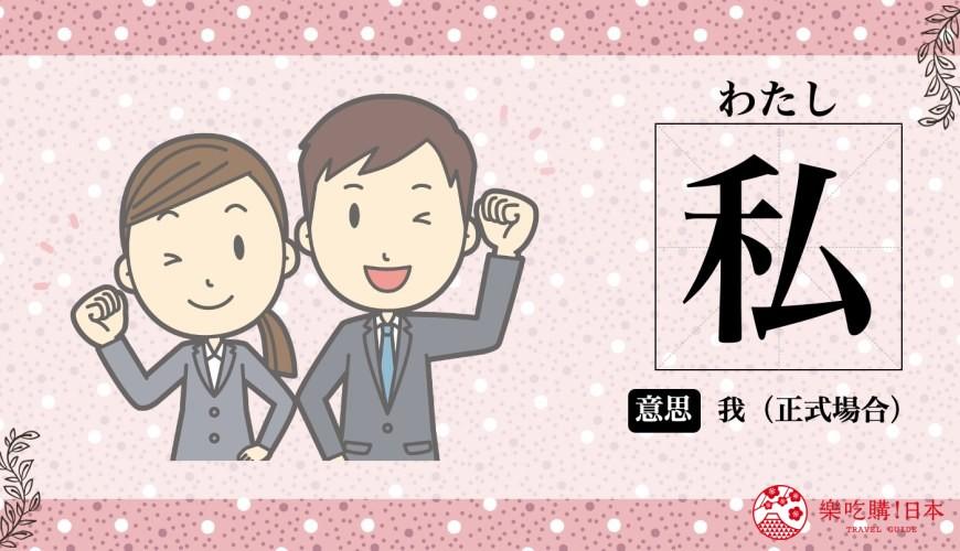 日文第一人称(自称)的「私」(わたし)意思说明示意图一