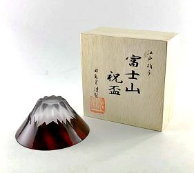 日本富士山杯田島硝子赤富士祝盃正版蝦皮
